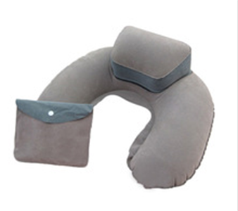 travel pillow,inflatable pillow, flock inflatable pillow