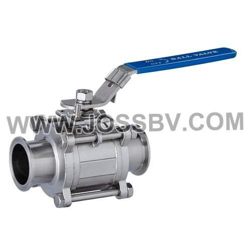 Three-Piece Sanitary T-Clamp Ball Valve With ISO5211 Mounting Pad