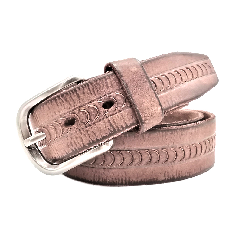 MENS RETRO REGULAR SIZES EMBOSSED LEATHER WAISTBAND BUCKLE BELTS