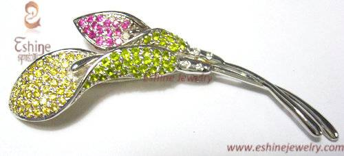Shinning White Rhodium Plated Brass CZ Lily brooch with colorful CZ stones