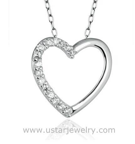Heart Pendant Necklace 925 Silver Fashion Crystal Necklaces for America