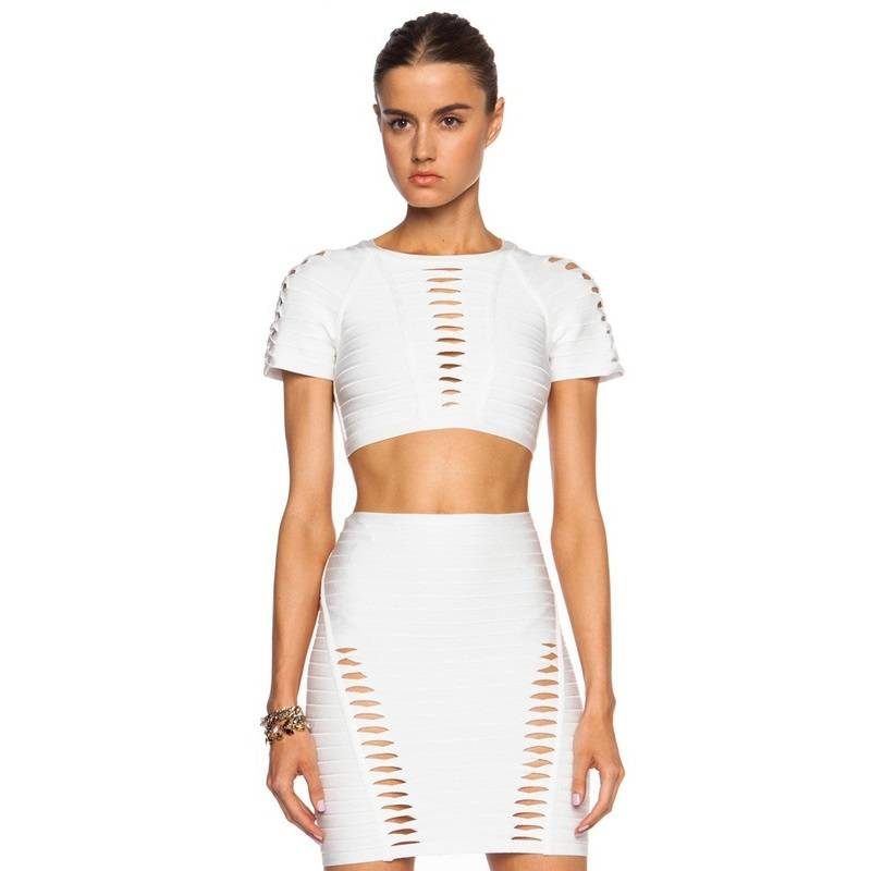 Fashion Hollow out design dress two piece black&white 2016 summer