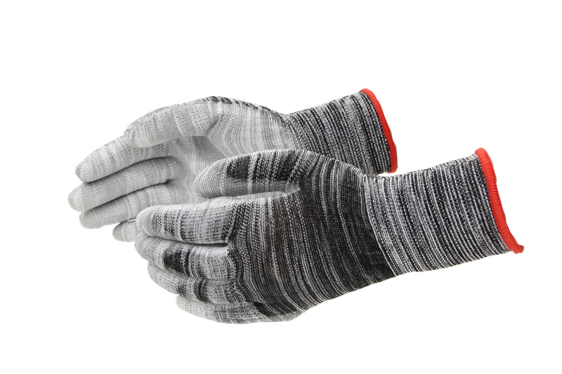Grey pu coated gloves with factory price