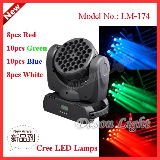 36pcs 5W Cree stage light 200-Watt LED Moving Head Light Beam LM-174