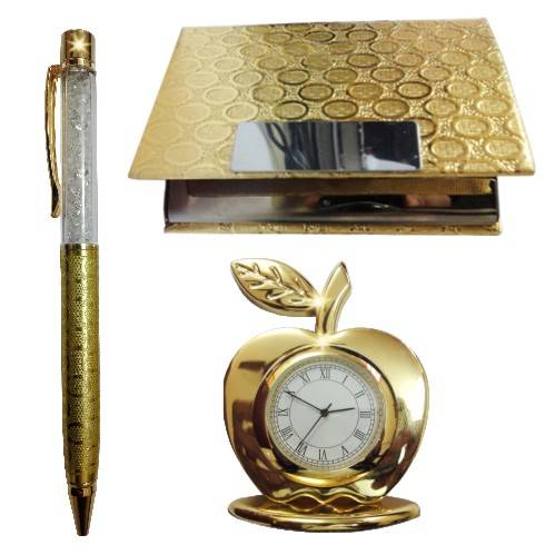 24k Gold Plated Corporate Set  (Crystal Pen, Business Card Holder & Table Clock)