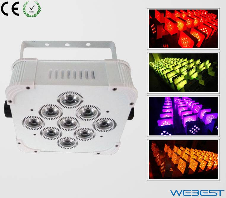 9 Lens QUAD Color 4in1 RGBW Rechargeable Wireless DMX LED uplights