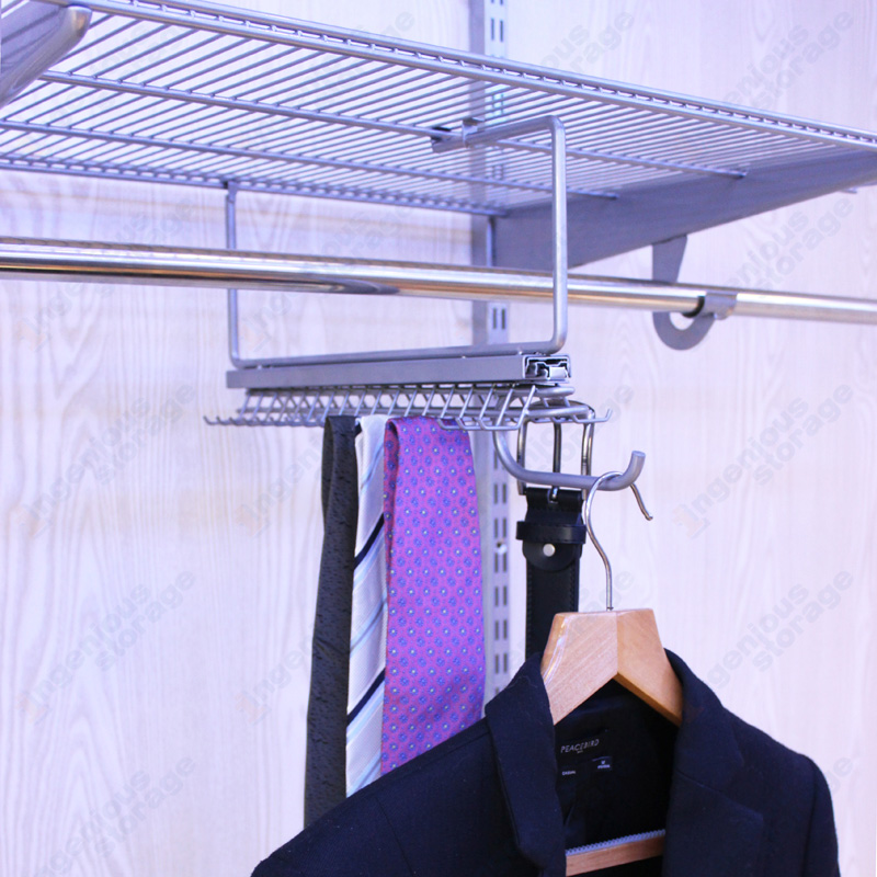 Platinum Gliding Tie&Belt Rack with Valet Hook