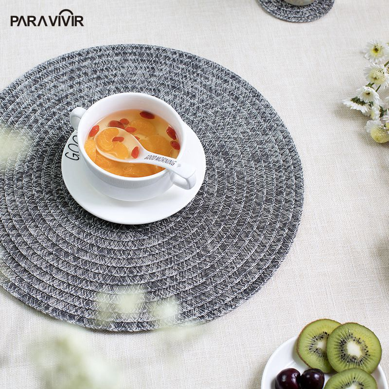 Round Placemats Dining Table Mats Polyester Coffee Cup Pads PVC Woven Tableware Coaster Home Decor