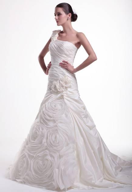 One shoulder pleated bodice court train flower wedding dress