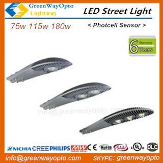 LED Street Light 75W 115W 180W UL DLC SAA,120-145lm/w, 5- 7 years warranty