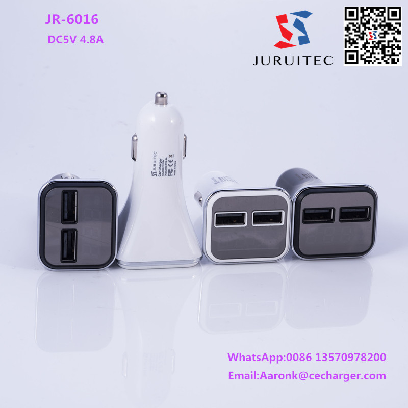 LED Screen DC5V 4.8A 2 Port USB Car Charger