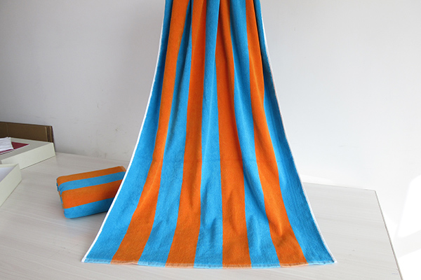 Blue and Orange Color Stripe 100% Cotton Beach Pool Towel