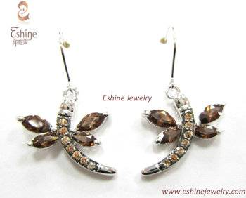 Black Rhodium Plated Brass dragonfly jewelry earrings with coffee CZ stone