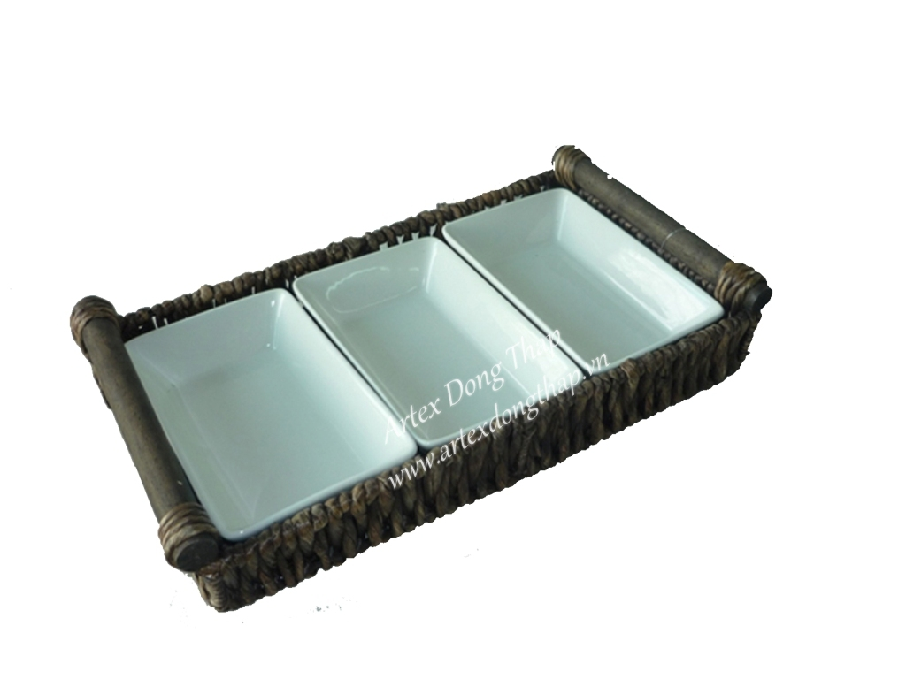 Water hyacinth tray with ceramic inside - SD2563A-1BR05