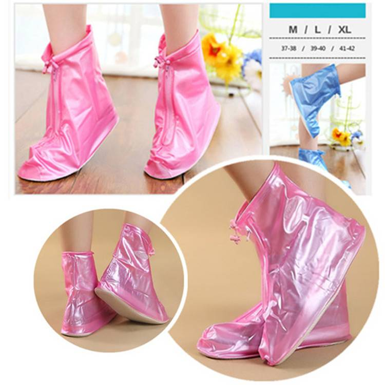 Colorful Pink PVC Rain Boots Cover Over Shoes