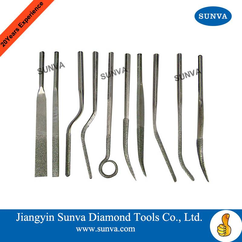 SUNVA Diamond Machine Bent Files / Diamond Files
