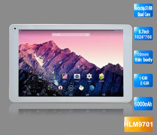 9.7 inch RK3188 Quad Core 2MP+5MP camera Android 3G tablet pc