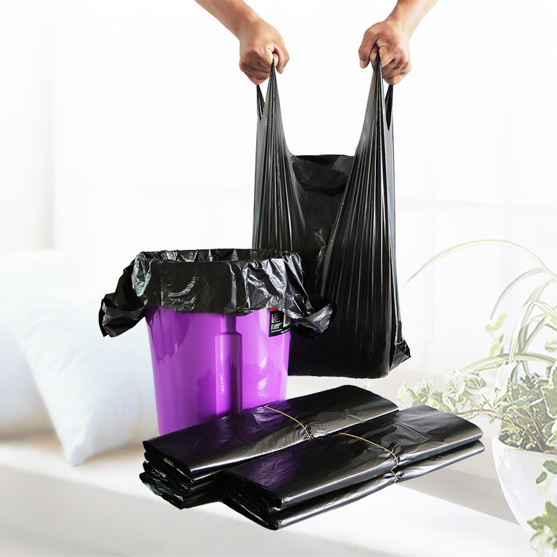 Wholesale Black Color cheap thick T shirt bag shopping bag