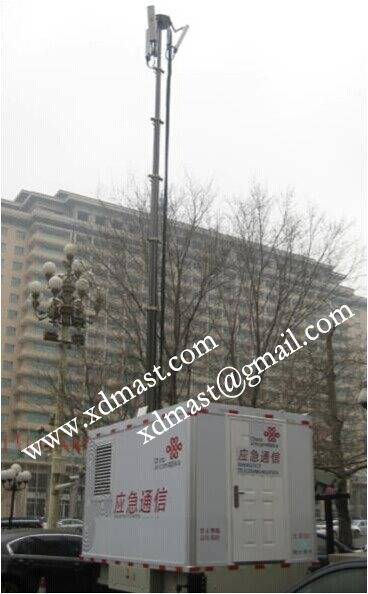Emergency mobile telecom base station and military antenna electric telescoping mast