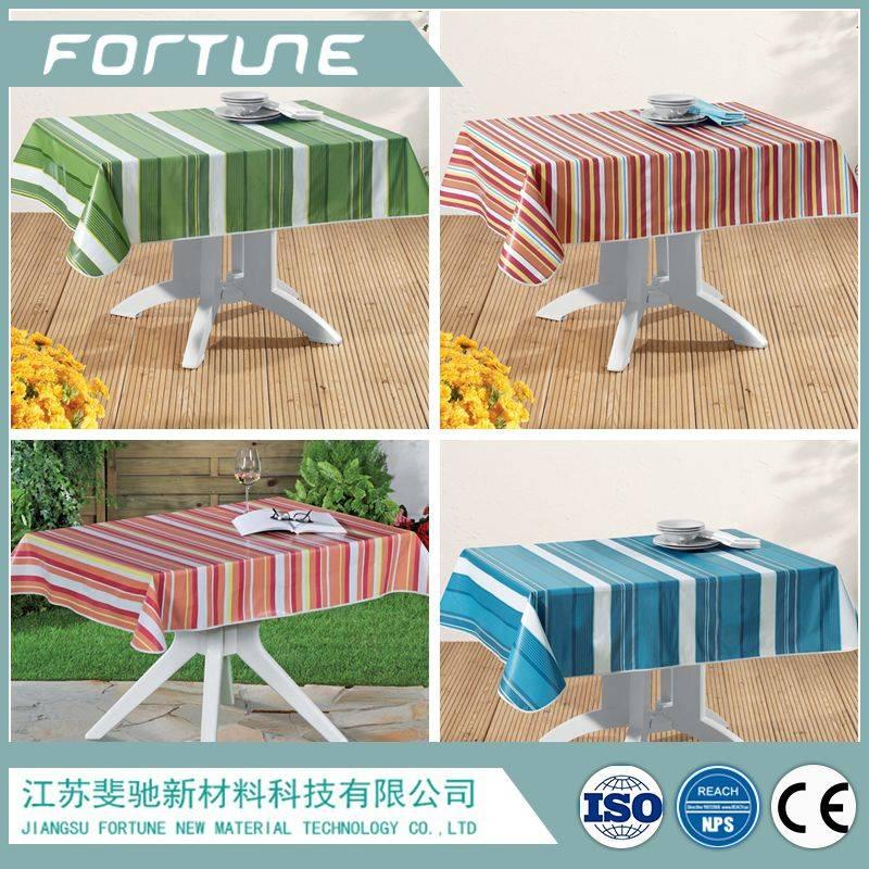 pvc table cloth color printed stripe design