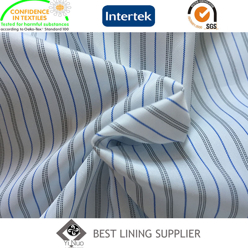 100 Polyester Lining Mens Suit Sleeve Lining Yarn Dyed Striped Lining