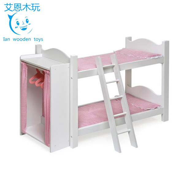 Sweet Style Wooden Doll Bunk Bed with Wardrobe
