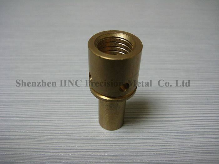 brass connector thread on two side with hole in middle