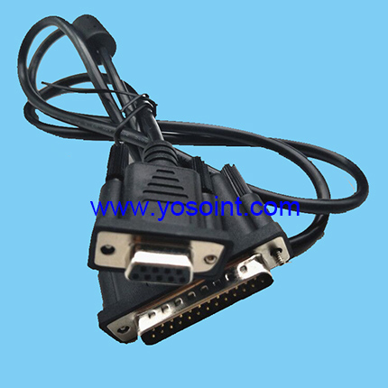 DB25 male to DB9 female RS232 cable with ferrite choke for computer