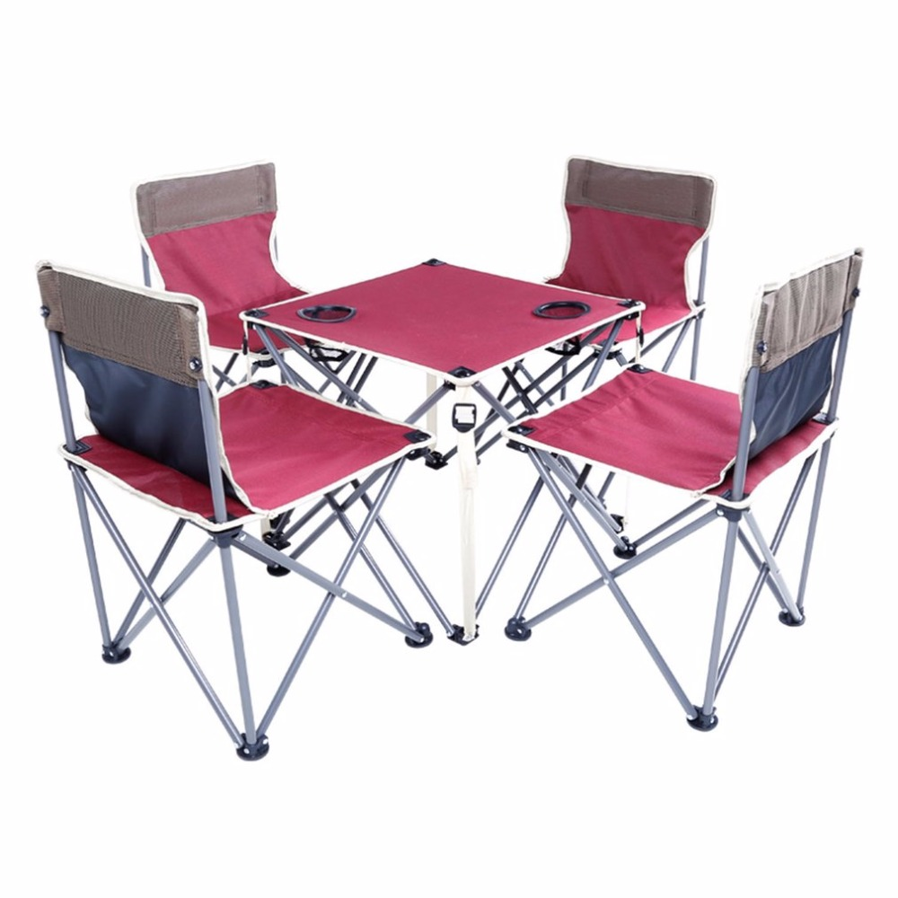 Folding Beach Table Chair Five Sets Burgundy Integrated Design High Stability
