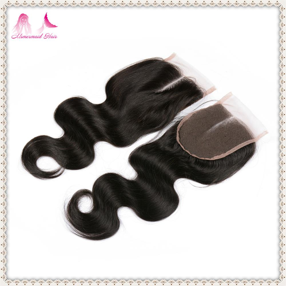 Hot sale cheap 100%virgin brazilian hair body wave closure 44