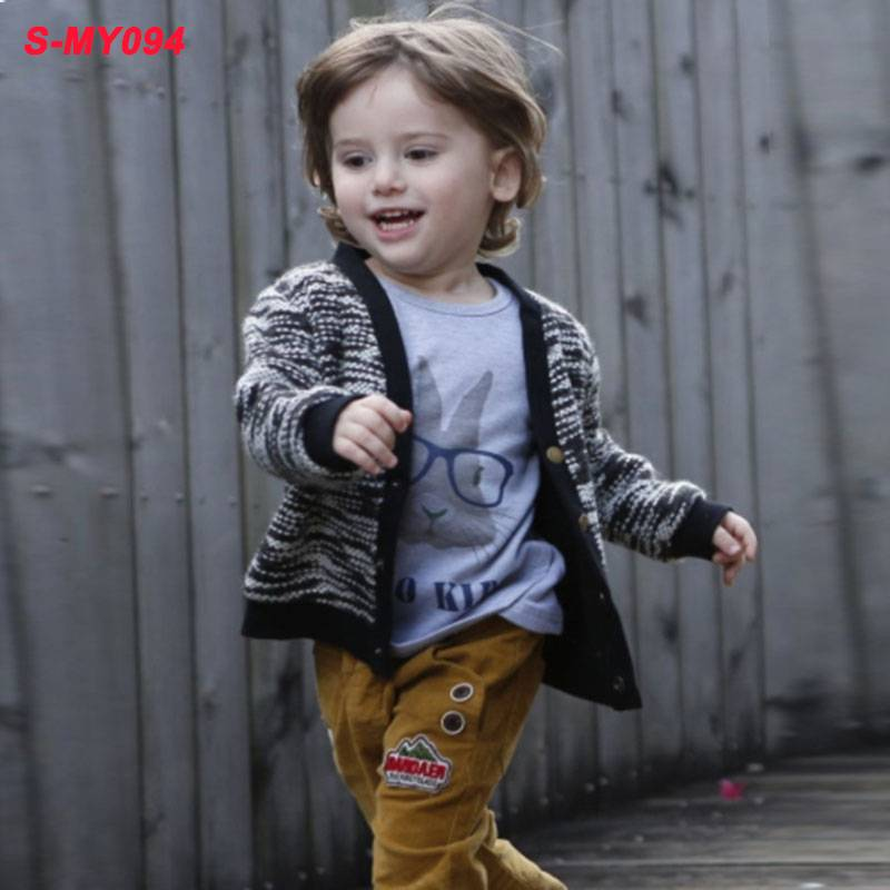 Wholesale fall outwear boy black wool kids clothing