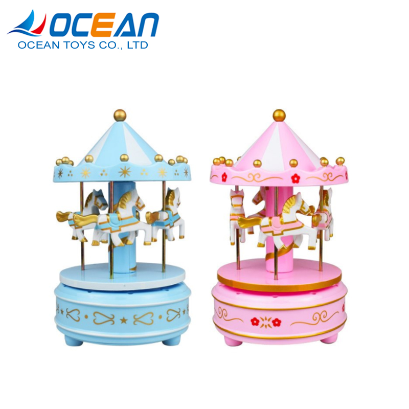 Rotating small horse carousel music gift box for girlfriend
