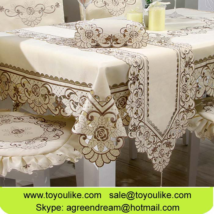 Toyoulike Beige Polyester Cutwork Flower Embroidered Dining Tablecloth Chair Cover Set Table Runners