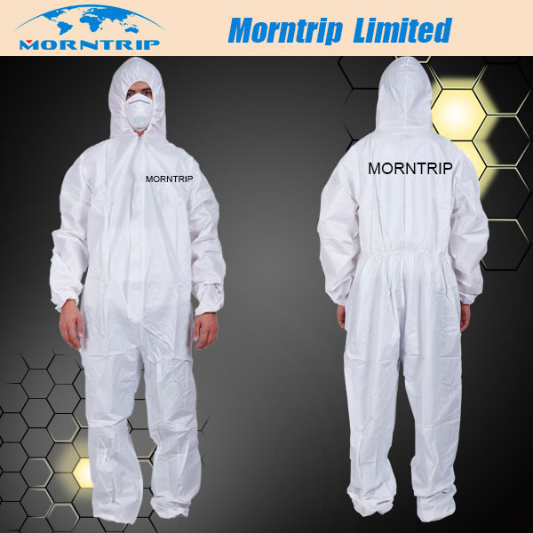Nonwoven Disposable Coverall with OEM Logo Sticker in Left Chest