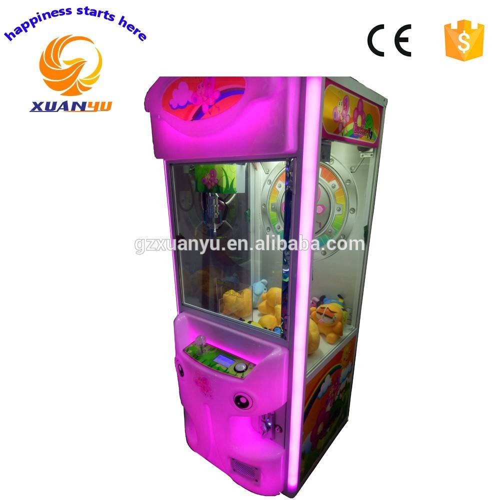 Butterfly coin operated mini arcade claw crane machine