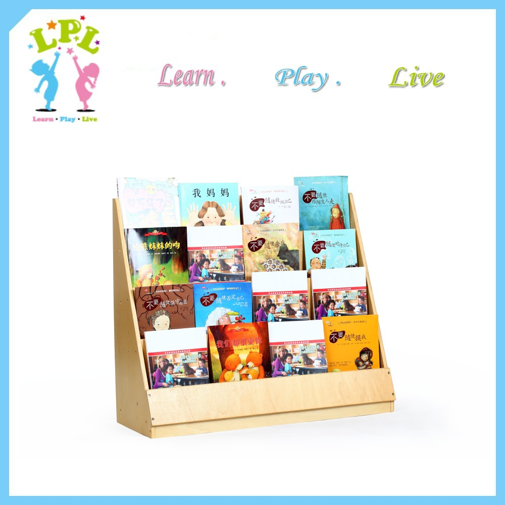 Plywood new design space saving school children furniture kids bookcase