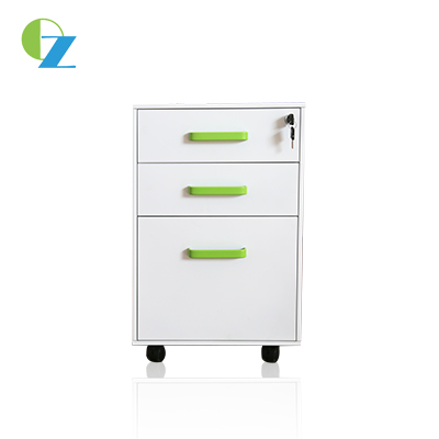 Office mobile cabinet with 3 drawer, steel handle, two keys, 3 section slide way