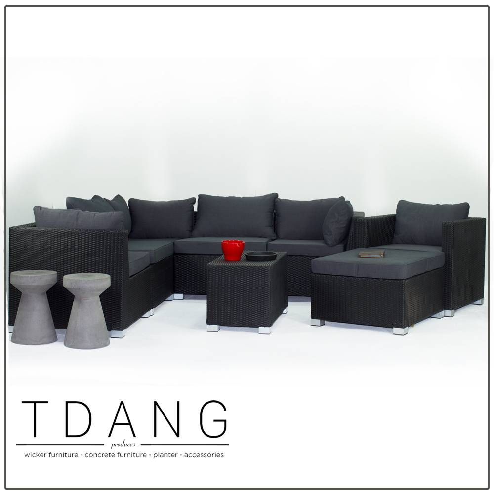 Kessler 8 Pieces Seating Group in Black with Cushions (Code TD1005)