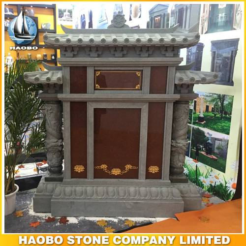 Chinese Roof Design Family Gravestone with Dragon Columns