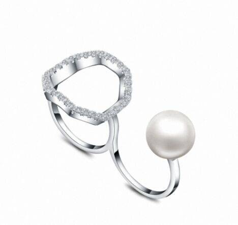 Custmized hip hop plated fancy open double finger ring with deep sea pearl,beautiful design