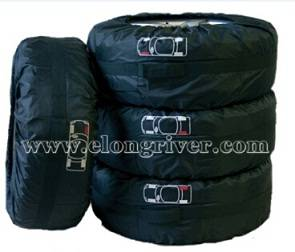 Black Polyester Seasonal Car Tire Cover / Tire Tote Set