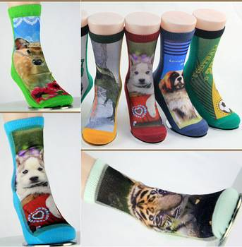 Made in China colourful polyester 3D printed sock