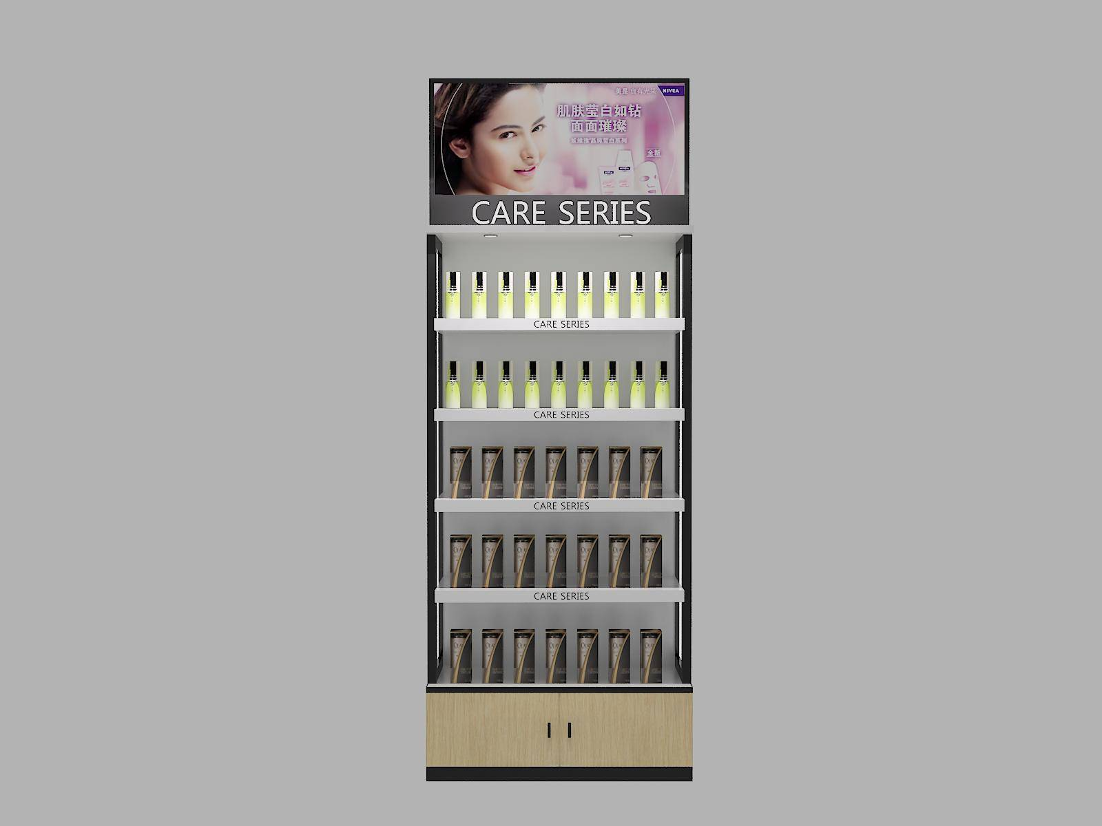 New style wood&metal combined cosmetic display stand
