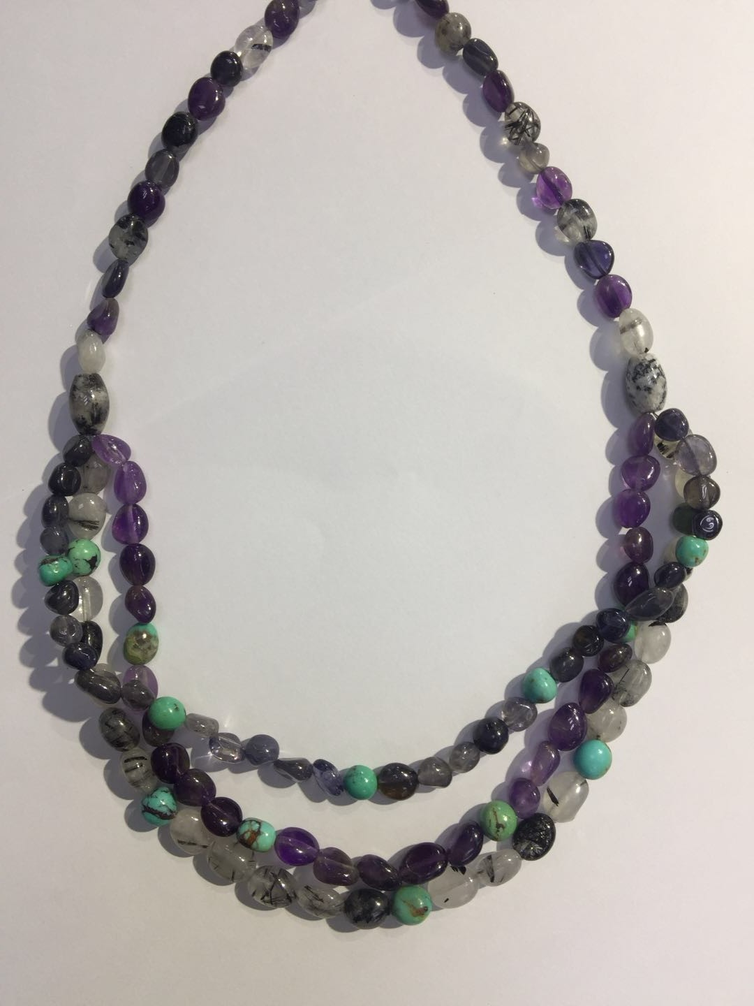 Wholesale Black crystal tail agate Amethyst Chilean pine unshaped Necklace factory price
