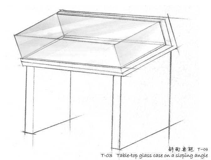 Museum Table top glass case on a sloping angle T-03