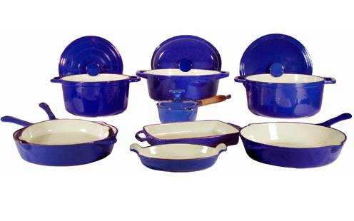 13 Piece Enameled Cast Iron Blue Cookware Set