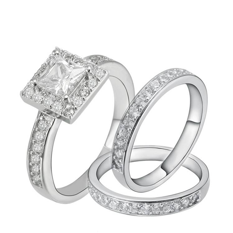 Sterling Silver Engagement Wedding Ring Band Set