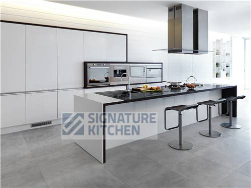 High Quality SIGNATURE KITCHEN  White High Glossy Lacquer Kitchen Cabinet Awesome Design