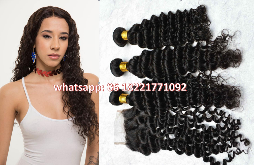 Unprocessed human virgin hair with closure brazilian deep wave malaysian peruvian hair extension