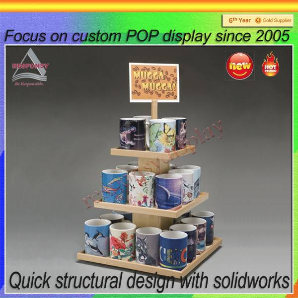 China factory Direct Supply Coffee Mug Cup Wooden Display Rack
